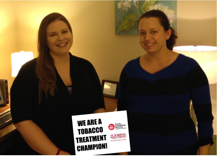 Audrey Aliberto, LMFT (left) and Shannon Drake, NPP are part of the Tobacco Treatment Champion team at FCS.